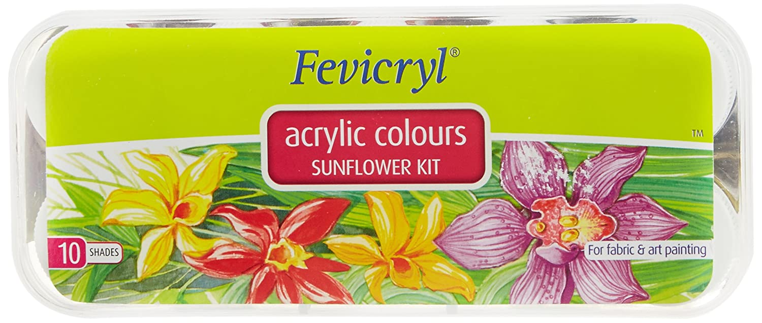 Fevicryl Acrylic Colors, Sunflower Kit, 10 Shades Pidilite Industries Limited 8901860512110