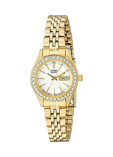 Ciudadano de la Mujer Dorado Reloj con Acentos de Cristal: Amazon.es: Relojes