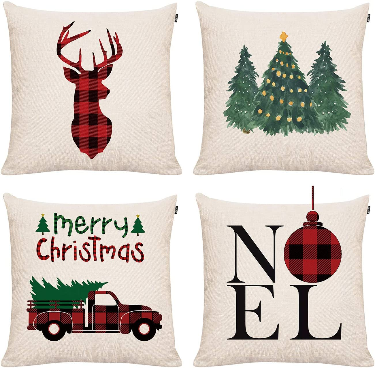 GTEXT Christmas Decor Throw Pillow Cover Holiday Decor Plaids Cuhion Cover  Case for Couch Sofa Home Decoration Fall Pillows Linen 18 X 18 Inches