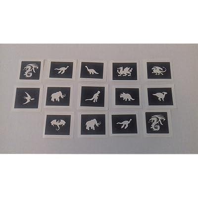 30 x dinosaurio & dragón temática mini plantillas pequeñas para tatuajes con purpurina/aerógrafo / pintura facial: Hogar