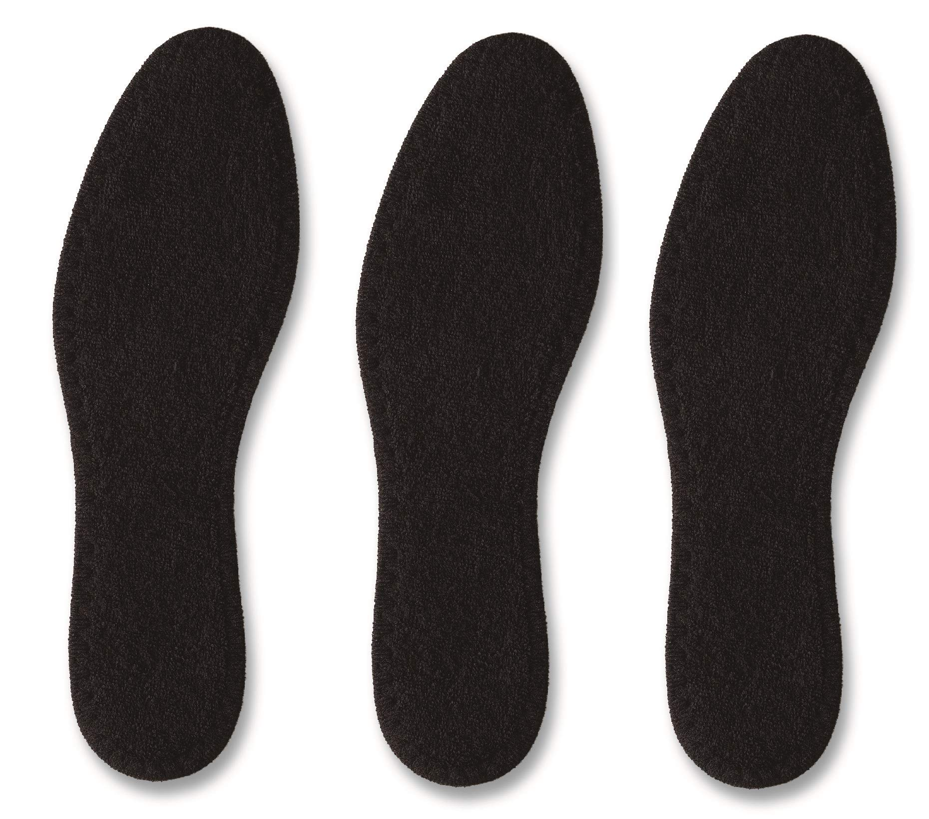 Pedag Pedag Summer Washable Pure Cotton Terry Barefoot Insole, Black, Us 9l/ EU 39, (Pack of 3), 6.4 Ounce