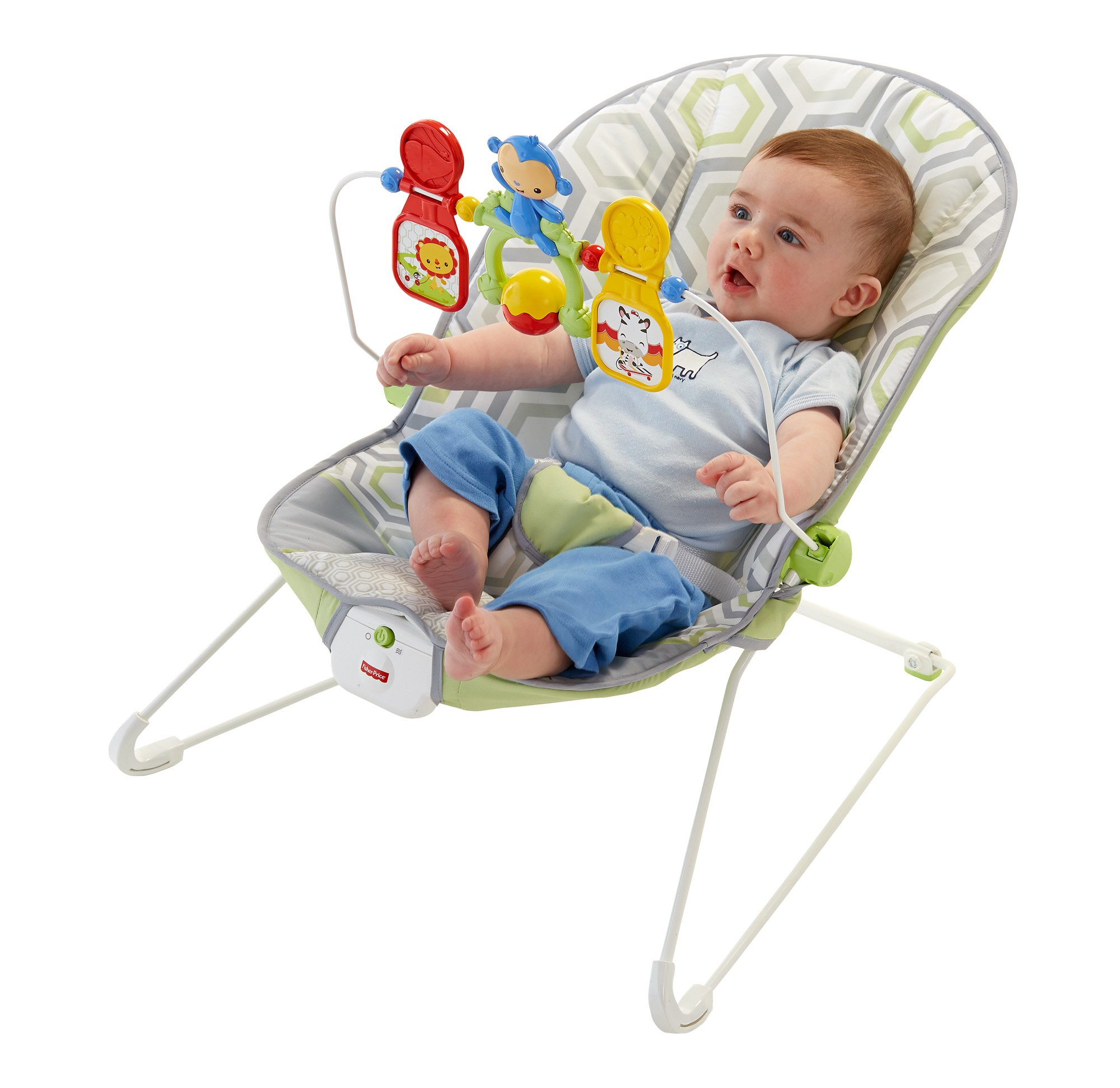 Bouncy seat for soothing and entertaining Switch on calming vibrations to help soothe Removable ...