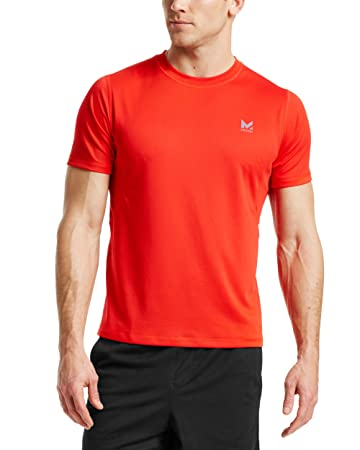 Mission Men's VaporActive Alpha Short Sleeve Athletic Shirt, Fiery Red, Medium