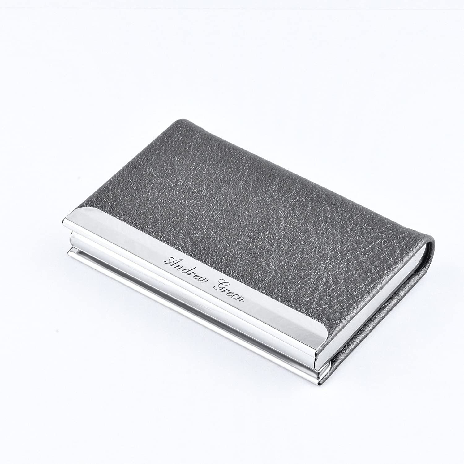 Custom Business Card Holder for Free Engraving (Grey)