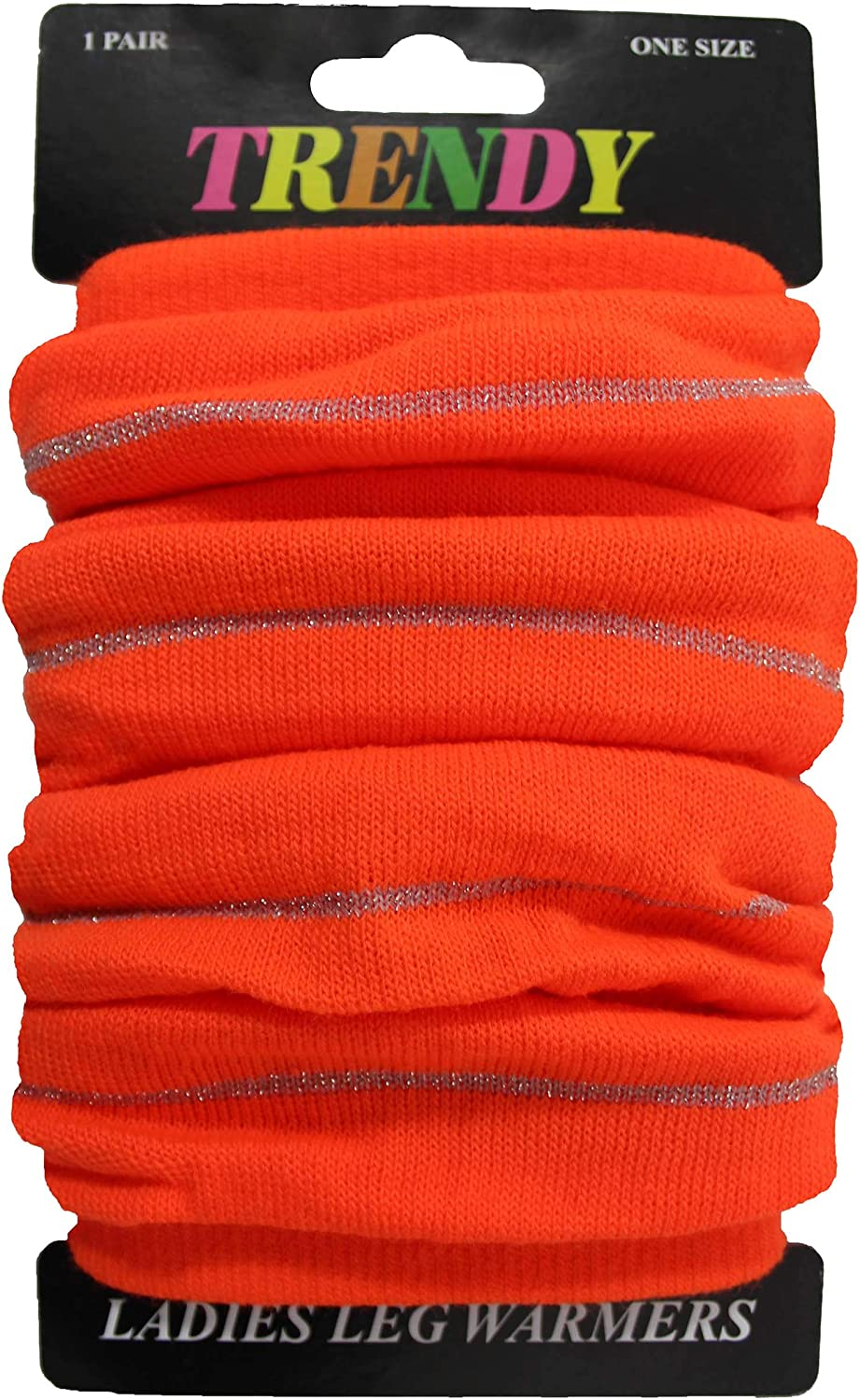 Ladies Womens Bright Orange Neon Leg Warmers With Silver Lines 80s Fancy Party Dance Legwarmer One Size