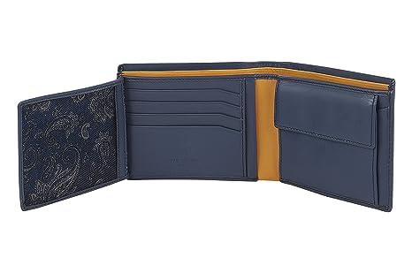 Visconti Cartera de cuero de caballero Trifold cartera (azul / mostaza - blue/mustard