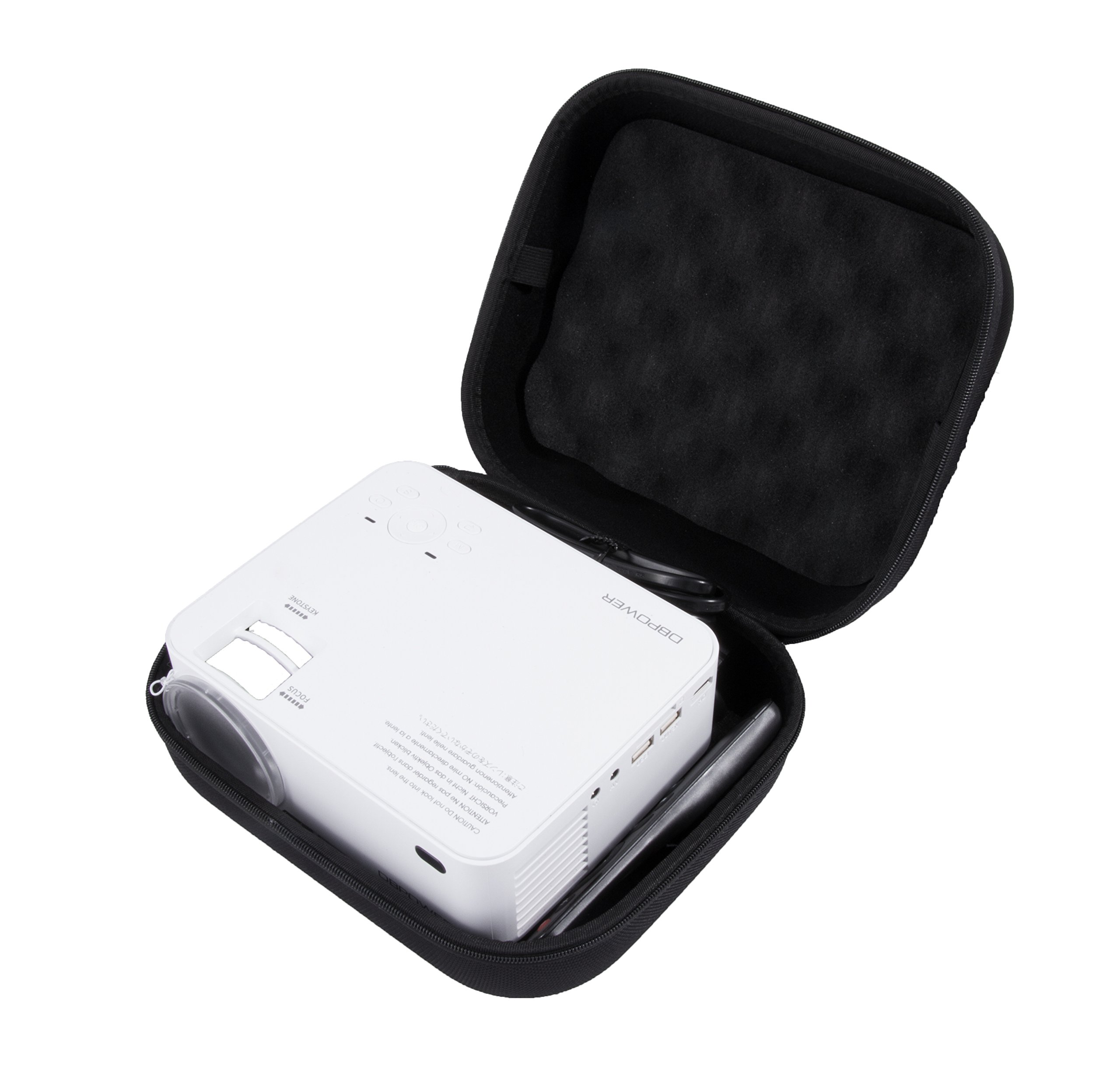 CASEMATIX Impact Protection Projector Case For DR.J Mini Projector and dbpowerT20 1500 Lumens LCD Mini Projector and Accessories