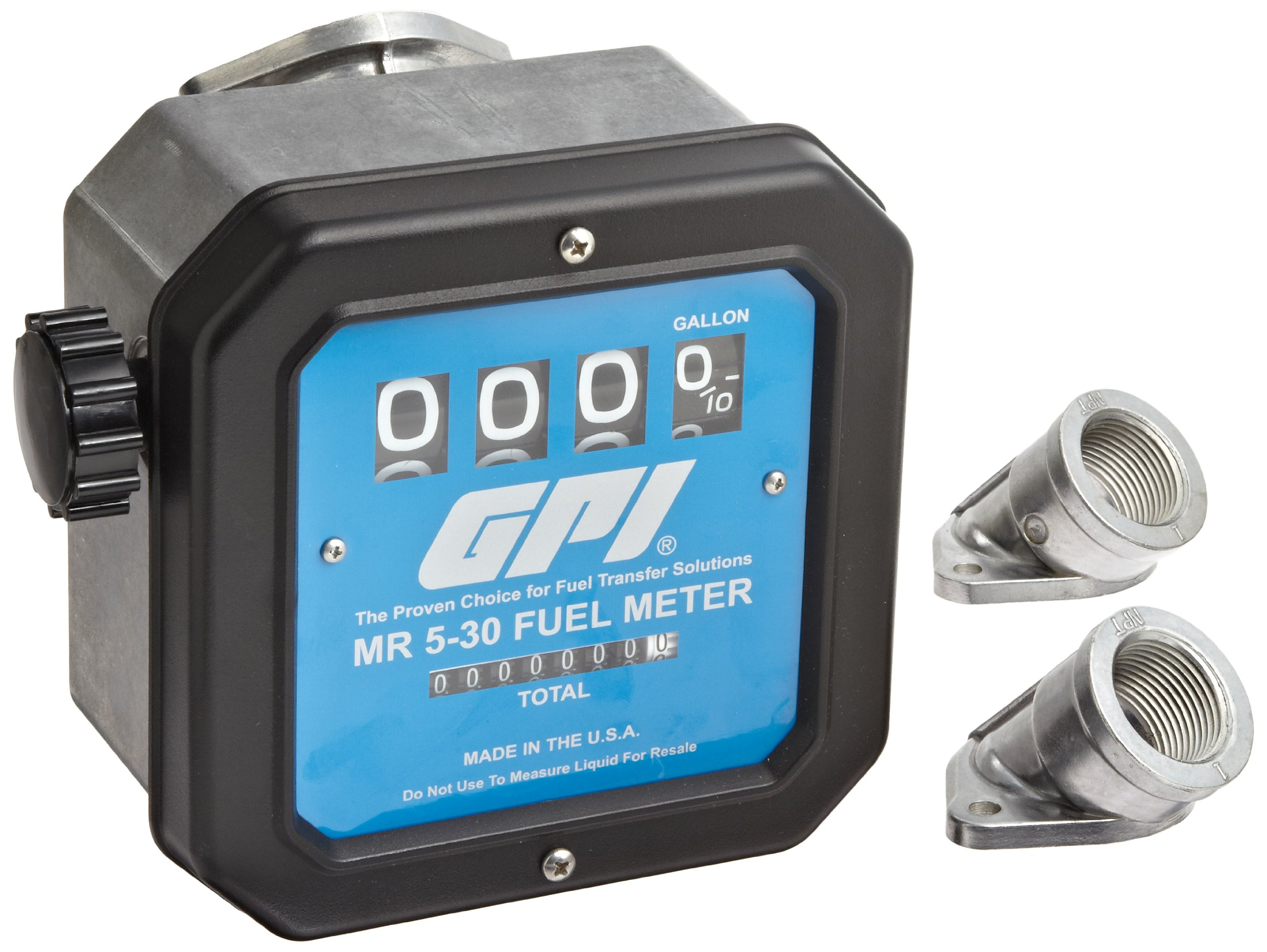 GPI 126300-03, MR530-G8N Mechanical Disk Fuel Flowmeter 1-Inch FNPT Inlet/Outlet, 5-30 GPM, 4-Digit Batch Display, Non-Resettable Cumulative Total, +/-2 Percent Accuracy