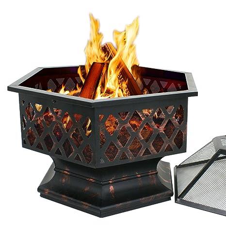 F2 C pesados acero hoguera, chimenea de leña al aire libre Patio calentador de Patio