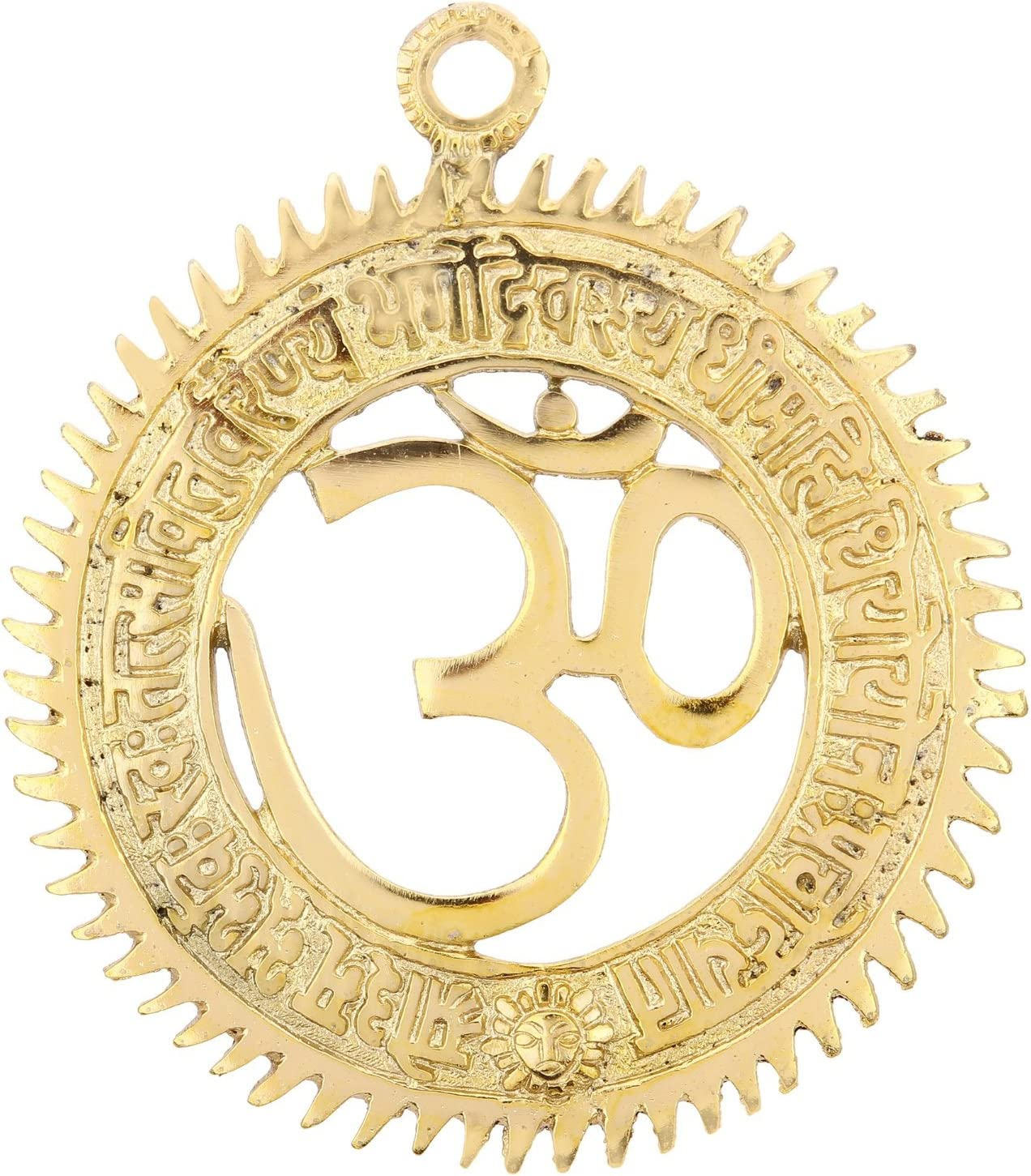 The Hue Cottage Handmade OM Wall Hanging/ Indian Hindu Religious Metal Idol Sculpture 15 cms with Gayatri Mantra for Home Decoration Showpiece /& Spiritual Gift Item