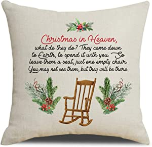 MFGNEH Christmas in Heaven Farmhouse Christmas Decorations Throw Pillow Covers 18x18 Inch Christmas Decor Winter Holiday Decorative Pillowcase Cushion Case for Sofa Couch, Memorial Gifts