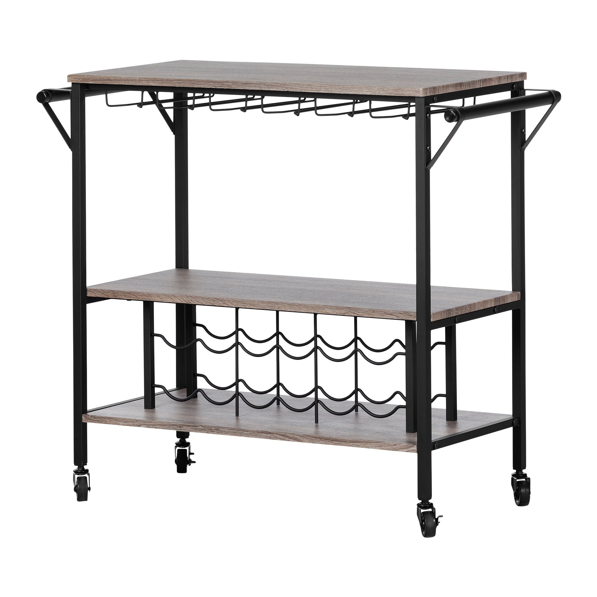 South Shore 12069 Munich Bar Cart with Wine Rack, Weathered Oak and Matte Black by South Shore