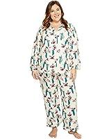 BedHead Womens Plus Size Long Sleeve Classic Pajama Set
