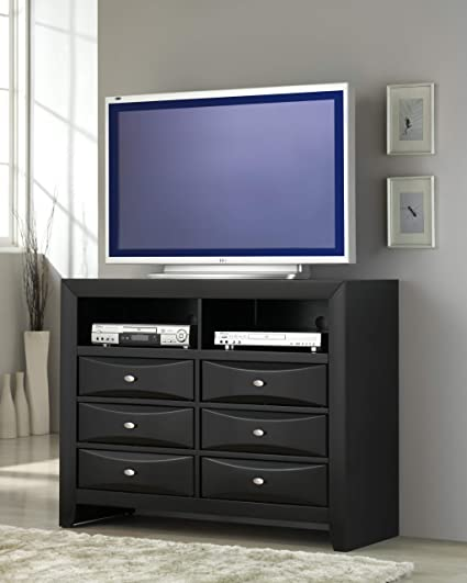 Roundhill Furniture B110t Blemerey Fully Assembled Tv Chest Black