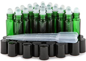 Vivaplex, 24, Green, 10 ml Glass Roll On Bottles with 3-3 ml Dropper's …