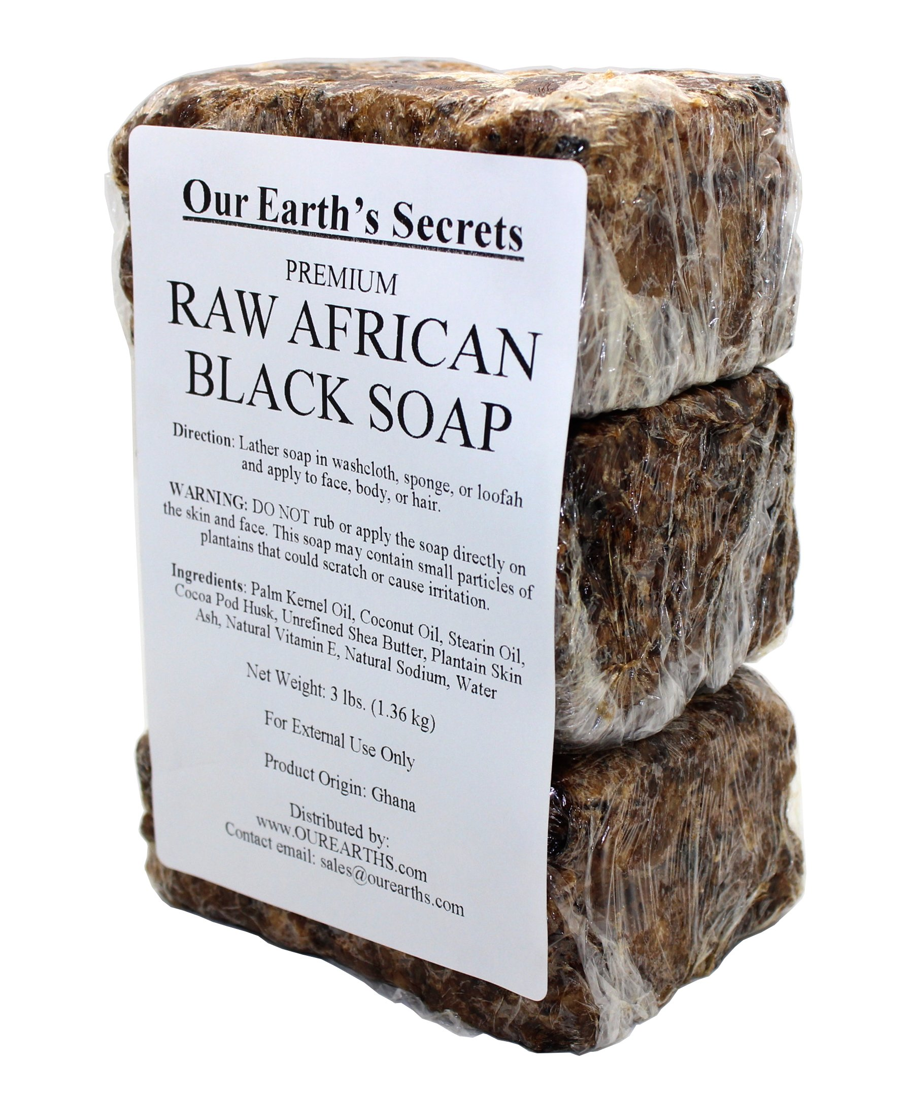 Our Earth's Secrets Premium Natural Raw African Black Soap, 3 Pound