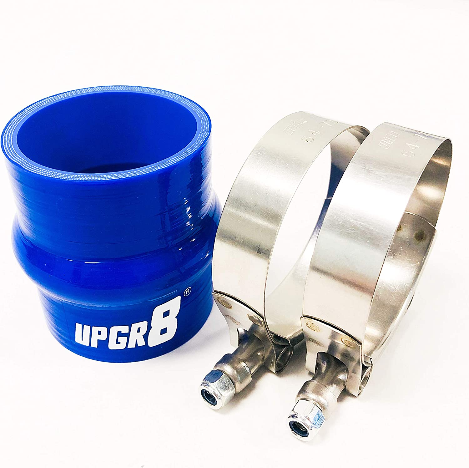 Upgr8 Universal 4-Ply High Performance 2 Straight Hump Coupler Silicone Hose 51mm 2 Black T Bolt Clamp