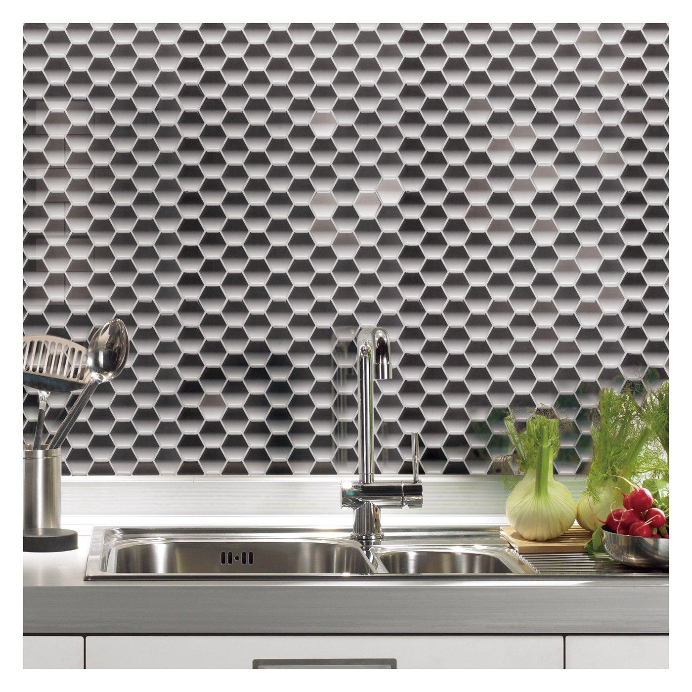 amazon com art3d peel and stick kitchen backsplash wall tile amazon com art3d peel and stick kitchen backsplash wall tile hexagon design 6 sheets home kitchen
