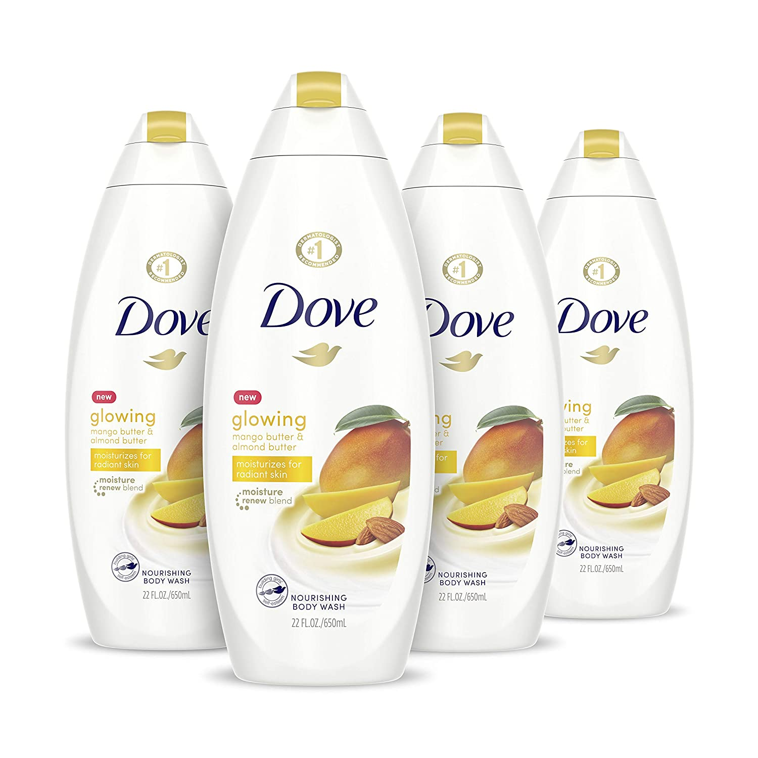 Amazon Com Dove Glowing Body Wash Moisturizes For Radiant Skin Mango Butter And Almond Butter Moisturizing And Sulfate Free 22 Oz 4 Count Beauty