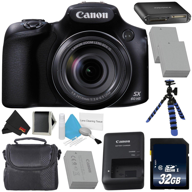 Canon PowerShot sx60 HSデジタルカメラ9543b001インターナショナルモデル(保証なし) + 8 GB SDHCクラス10メモリカード+ Carryingケース – Bundle  Deluxe B07D183QDN