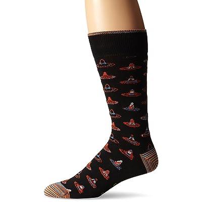 Robert Graham Men's Mexico Crew Sock, Black, Shoe size7.5-12/Sock size:10-13: Clothing
