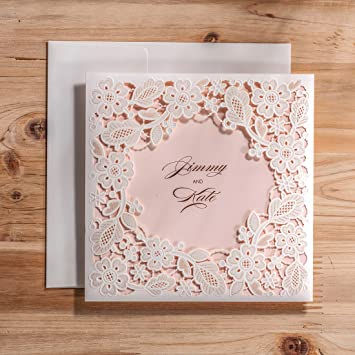 amazon com wishmade 50x white tri fold laser cut square wedding