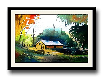 Artstory Village Landscape Scenery Framed Wall Painting Amazon In