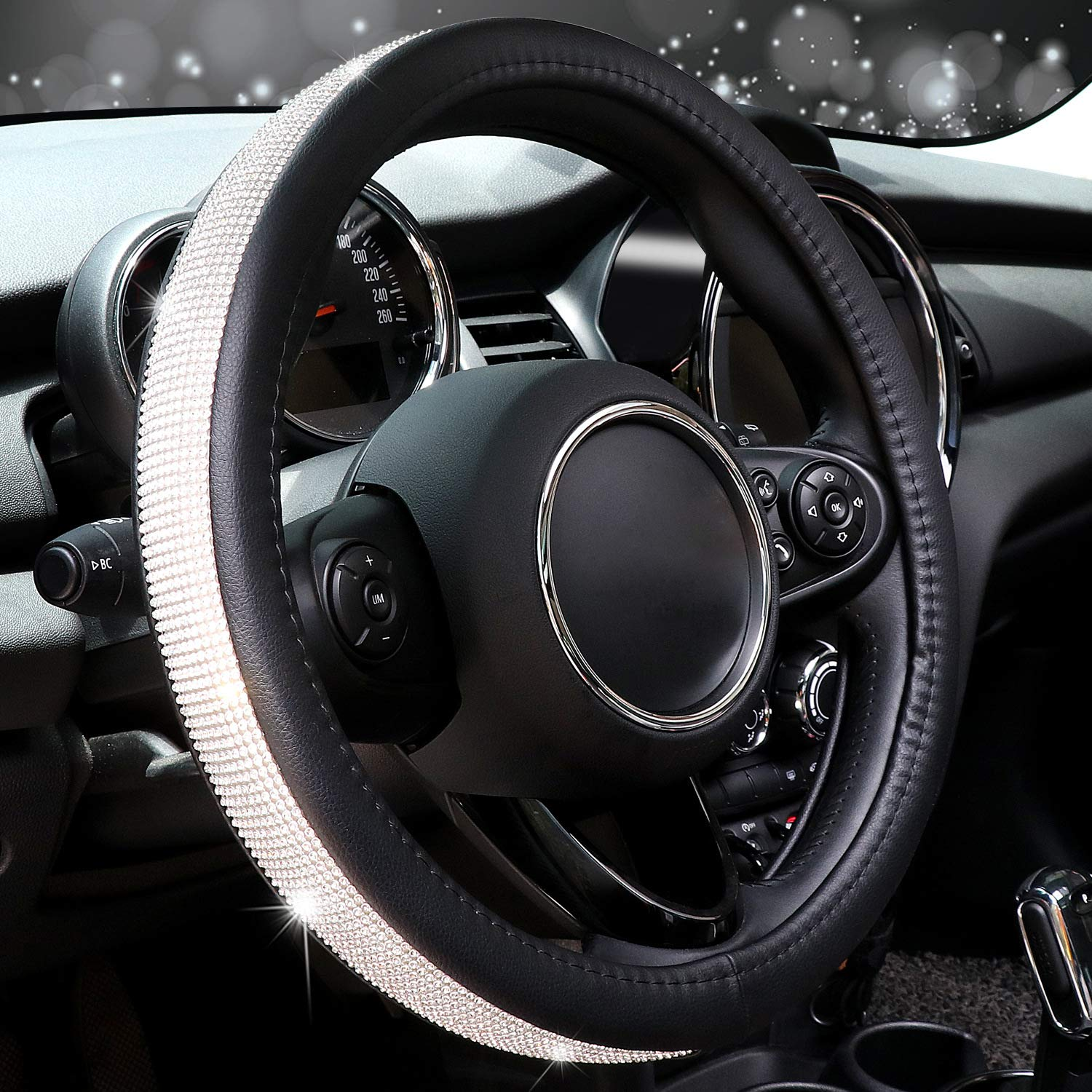 Grey and Black COFIT Breathable and Non Slip Microfiber Leather Steering Wheel Cover Universal L 39.2-41cm