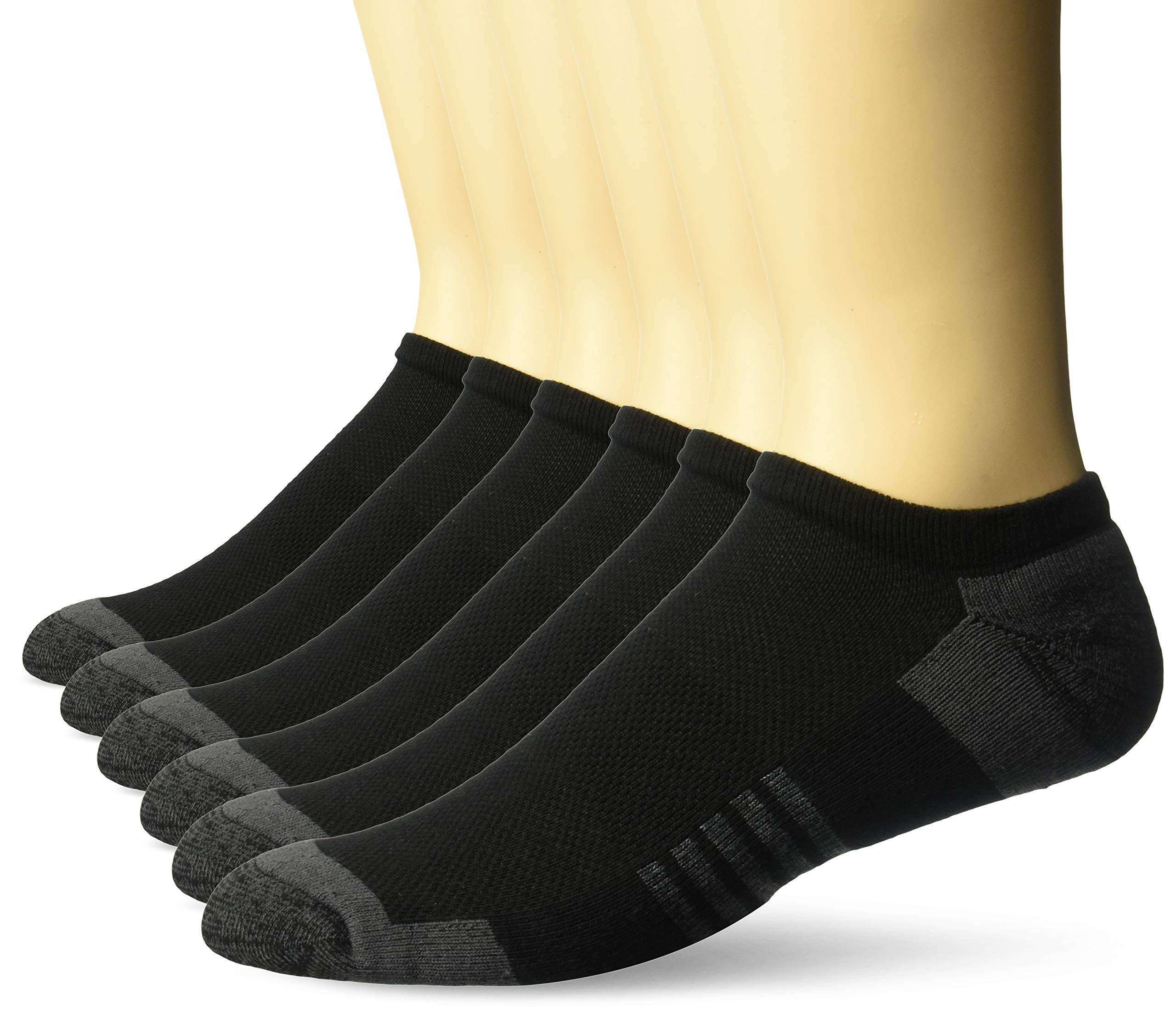Amazon Essentials Men's 6-Pack Performance Cotton Cushioned Athletic No-Show Socks, Black, Shoe Size: 12-16