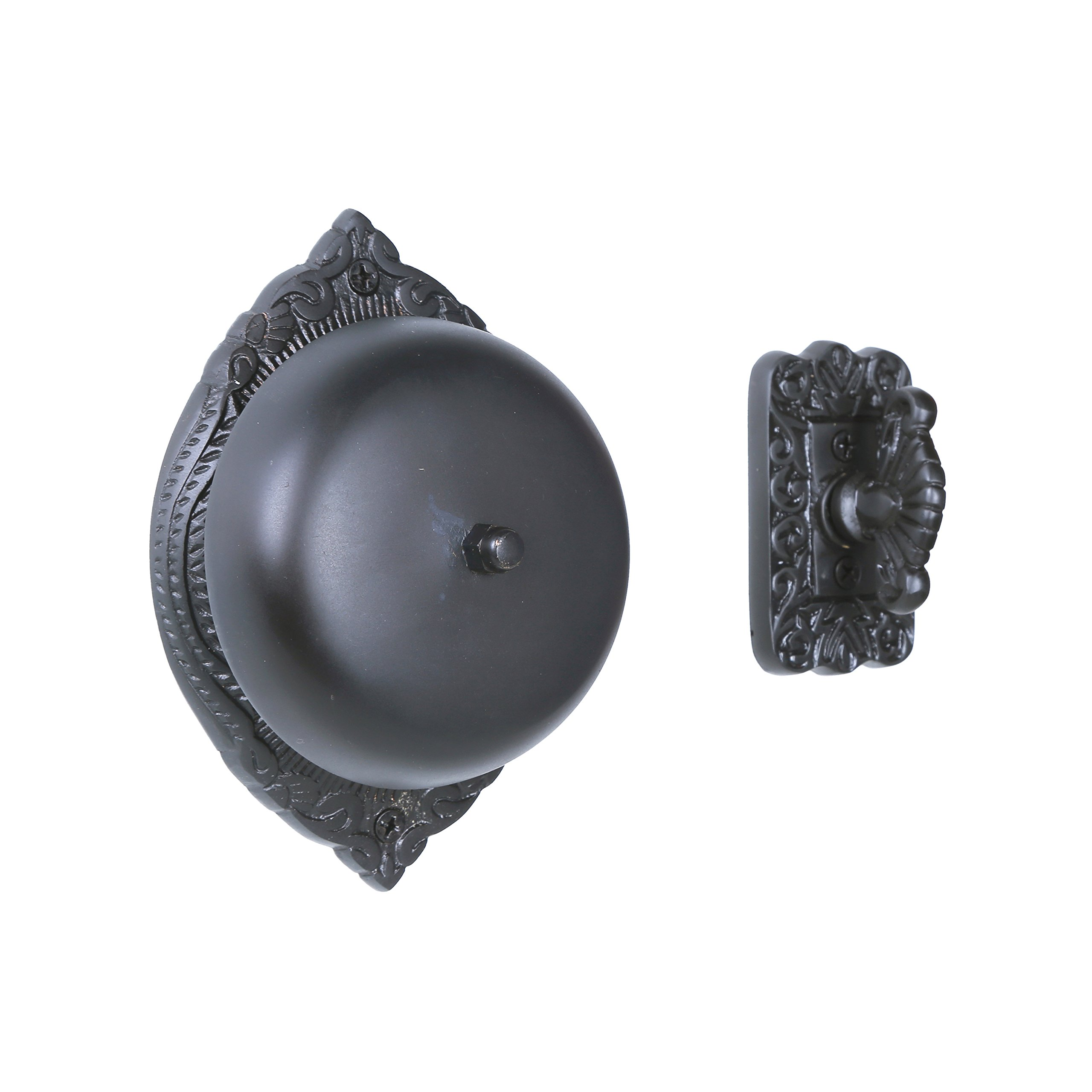 Twist Hand-Turn Solid Brass Wireless Mechanical Doorbell Chime in Oil Rubbed Bronze Finish, Vintage Decorative Antique Victorian Door Bell with Easy Installation