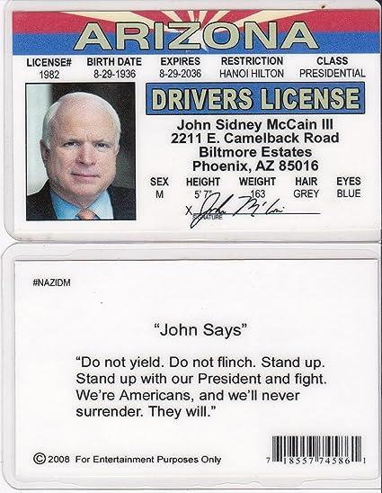 Games Toys Amazon com John Senator Novelty Replica amp; Mccain Drivers License