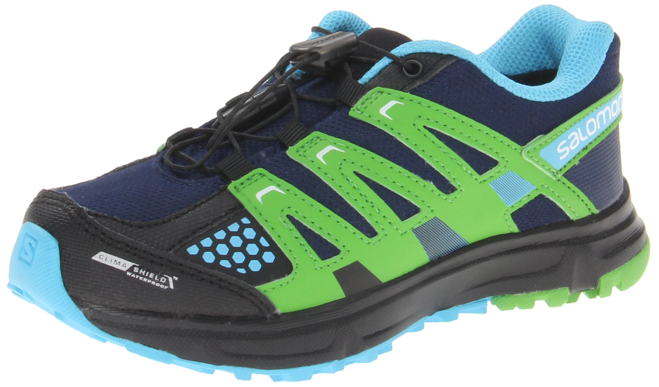 Salomon XR Mission CSWP J Hiking Shoe (Little Kid/Big Kid),Lake/Light Green-X/Flou Blue,3 M US Little Kid