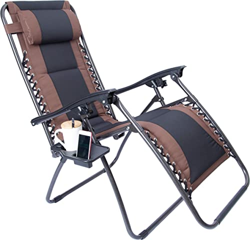 LUCKYBERRY Padded Zero Gravity Lounge Chair Patio Foldable Adjustable Reclining