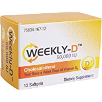 Weekly-D Vitamin D3 50,000 IU | for Energy, Bone and Teeth Health, Immune System Support | 12 Vitamin D3 Softgels…
