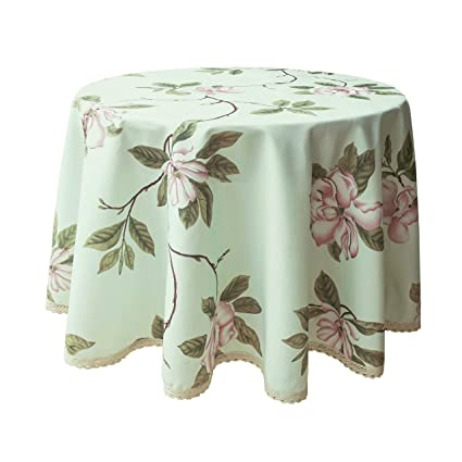 225 & Wewoch Decorative Floral Print Polyester Round Tablecloth Waterproof Fabric Lace Table Cloth Table Cover for Dining Room and Party (70x70-Inch Pale ...