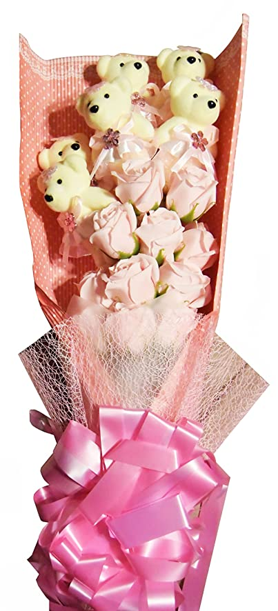 Amazon.com: Roses with Teddy Bear (Premium Soap Flower) (Medium ...