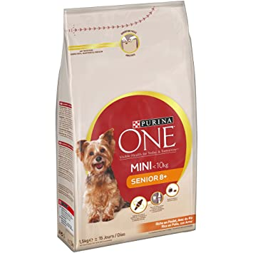 Purina ONE Mini Pienso para Perro Senior Pollo y Arroz - Pack de 8 x 800