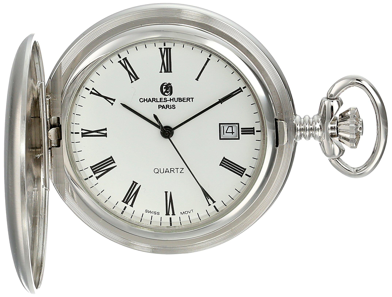 Charles-Hubert, Paris Rhodium-Plated Quartz Pocket Watch