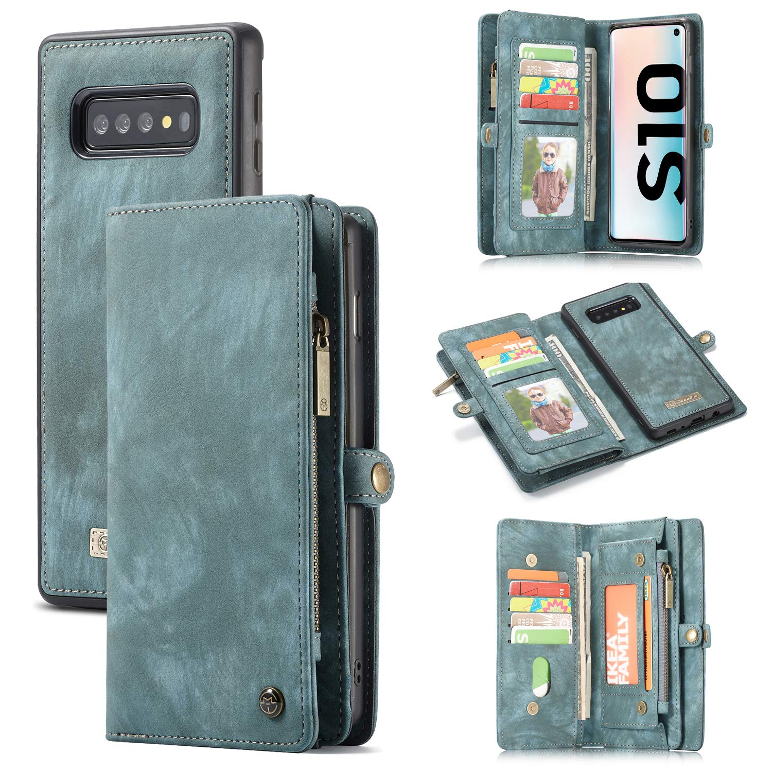 Galaxy S10 /S10 Plus Wallet Case,Zttopo 2 in 1 Leather Zipper Detachable Magnetic 11 Card Slots Card Slots Money Pocket Clutch Cover with Free Screen Protector (Blue-Green, Samsung Galaxy S10)