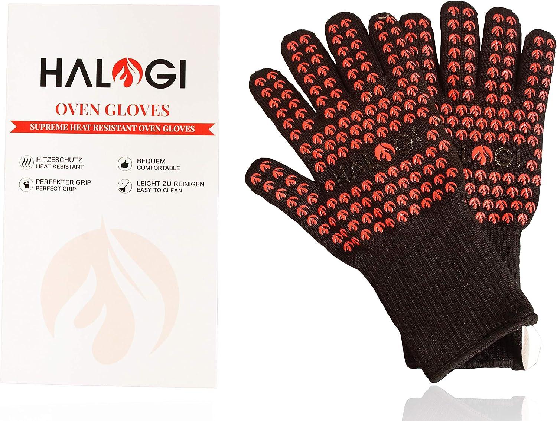 Halogi - Guantes Resistentes al Calor para Barbacoa, Horno, Pizza, Guantes de Cocina, Guantes Resistentes al Calor hasta 800 °C