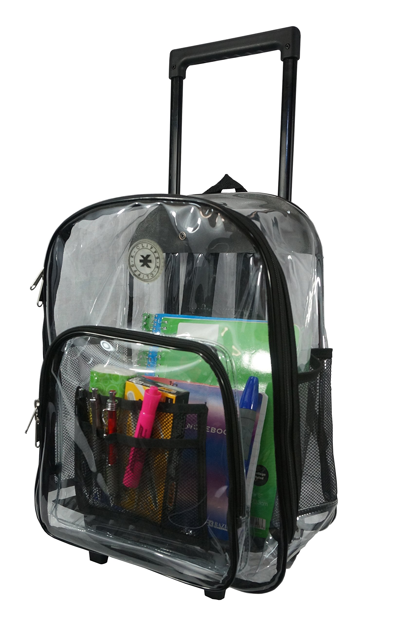 Rolling Clear Backpack Heavy Duty Bookbag Quality See Through Workbag Travel Daypack Transparent School Book Bags with Wheels Black by K-Cliffs (Image #6)