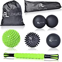 "Flex Life Massage Ball Set & Muscle Roller Stick Massager - 2 Spiky Ball, 1 Lacrosse Ball, 1 Peanut Ball, (1) 18"" Roller Stick. Great Rollers For Plantar Fasciitis, Mobility, Recovery, Soreness"