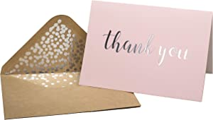 """Thank You Cards - Blank 50 Pack Pink Matte Finish Cards with Silver Foiled""""Thank You"""" Printed with 52 Confetti Design Kraft Envelopes 4"""" x 6"""" - for Bridal Shower Baby Shower Birthday Party"""