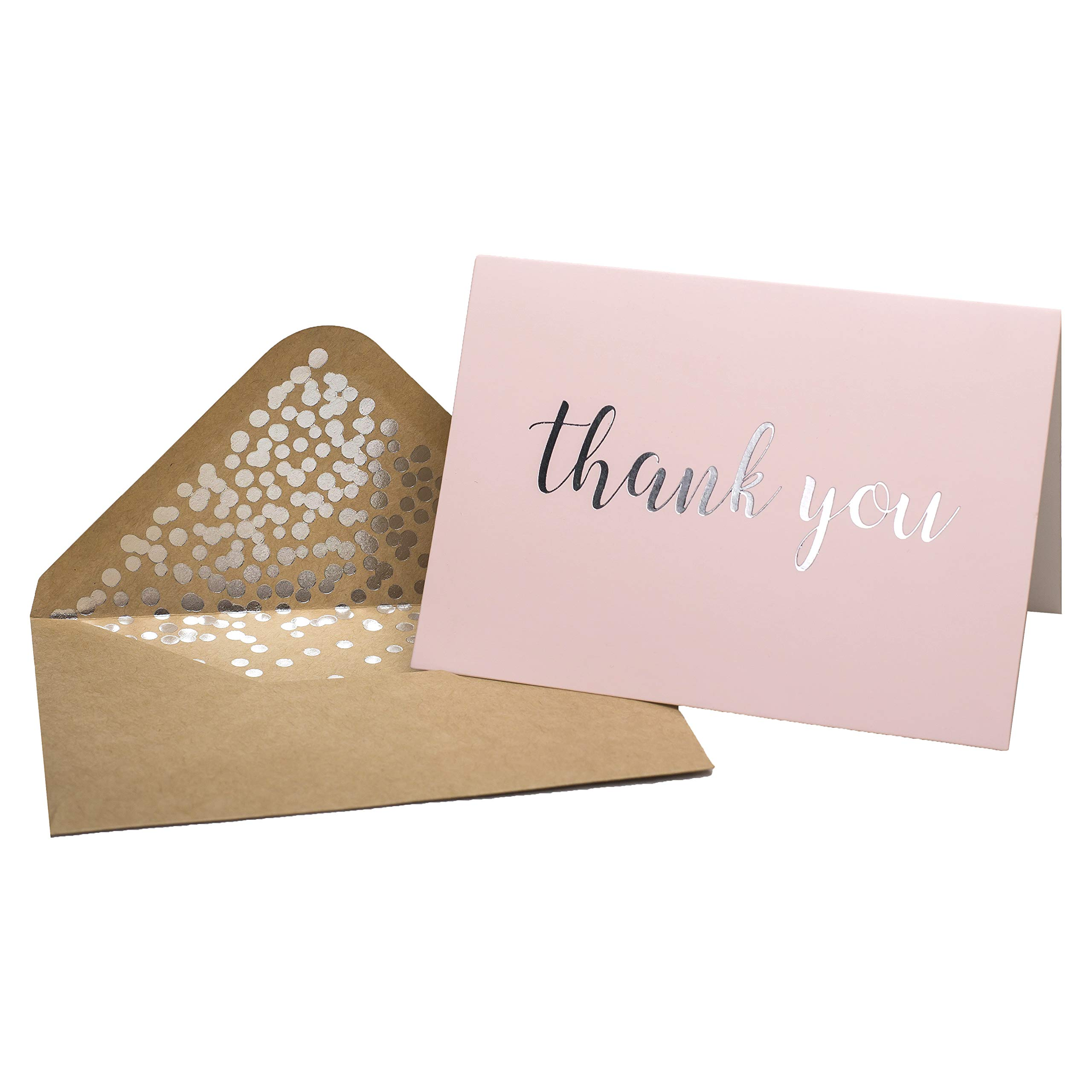 Thank You Cards - Blank 50 Pack Pink Matte Finish Thank You Cards with Silver Foiled''Thank You'' Printed with Confetti Design Kraft Envelopes 4'' x 5.75'' - for Bridal Shower Baby Shower Birthday Party