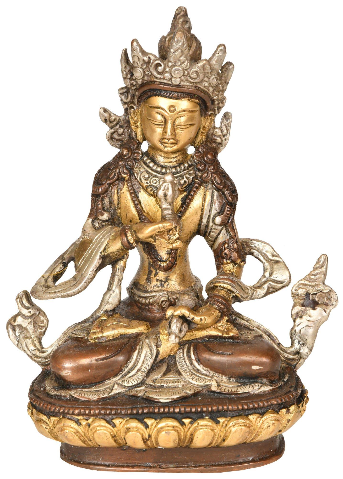 Adi-Buddha Vajrasattva (Tibetan Buddhist Deity) - Brass Statue