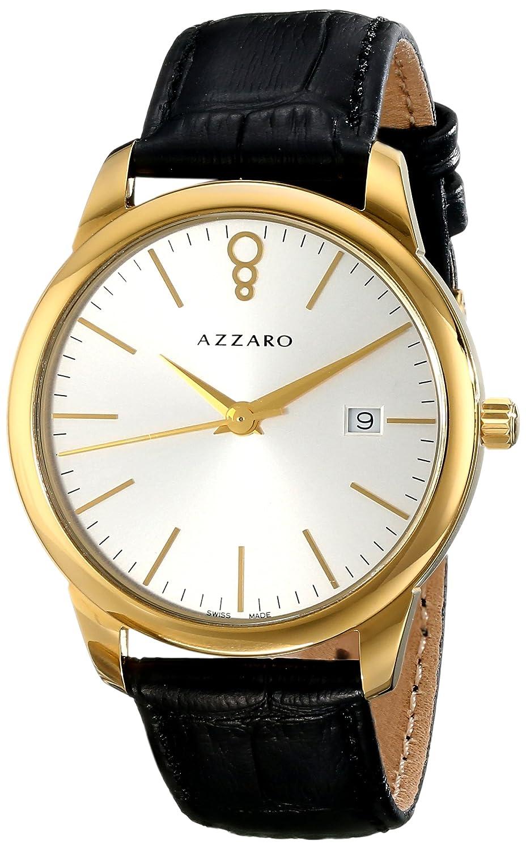 AZZARO LEGEND HERREN 40MM SCHWARZ LEDER ARMBAND MINERAL GLAS UHR AZ2040.62SB.000