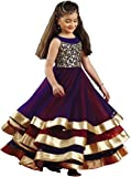 White Button Girl's Violet N Red Net 3 Layer Flared Emboridery Readymade Party Wear Kids Gown Dress