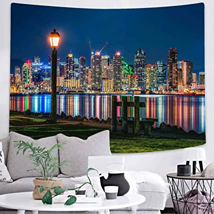 Amazon Com Dbllf Night City Tapestry Modern Metropolis