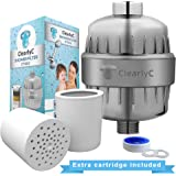 Shower Filter and Hard Water Softener - High Output, Multi-Layer Water Filtration System – Removes Chlorine and Heavy Metals for Soft Skin and Healthy Hair + 2 Filter Cartridges by Clearly, ET1812