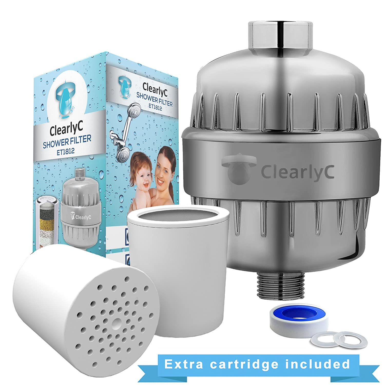 Shower Filter and Hard Water Softener - High Output, Multi-Layer Water Filtration System – Removes Chlorine and Heavy Metals for Soft Skin and Healthy Hair + 2 Filter Cartridges by Clearly, ET1812 ClearlyC
